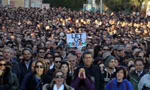 Thousands of bank employees march to the parliament during a protest in Nicosia March 23, 2013.