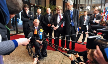 German finance minister Wolfgang Schäuble talks to the press in Brussels.