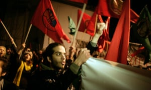Protestors outside a European Council building in Nicosia, Cyprus. Photo: Milos Bicanski/Getty Images.