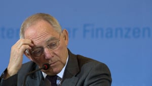 German Finance Minister Wolfgang Schaeuble reacts during a press conference at the Finance Ministry on March 25, 2013 in Berlin.