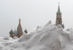 A pile of snow is seen in Red Square during a snowfall in central Moscow, March 25, 2013.