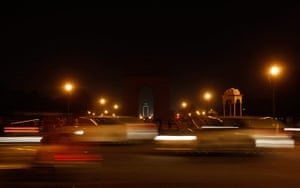 WWF Earth Hour: Heavy traffic moves in front of the India Gate during Earth Hour, New Delhi