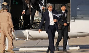 John Kerry, the US secretary of state, at Baghdad international airport