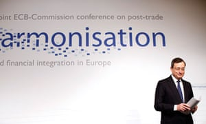 ECB President Draghi  at a joint conference with European Commission in Frankfurt
