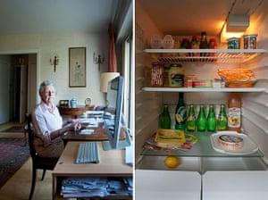 Big Picture - Fridges: elderly woman sitting behind desk with fridge of food