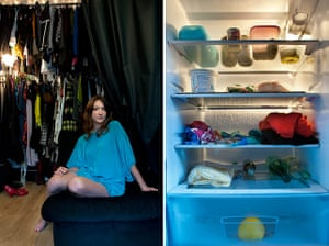 Big Picture - Fridges: young girl dressed in blue top with pic of fridge next to her