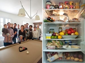 Big Picture - Fridges: group of people stand in front of snooker table next to pic of open fridge