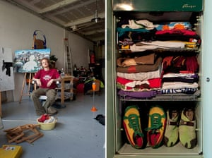 Big Picture - Fridges: young man sits in artist studio with pic of fridge full of clothes