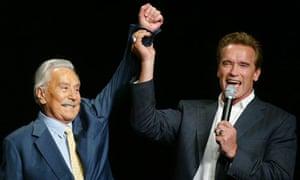 Joe Weider, left, and Arnold Schwarzenegger