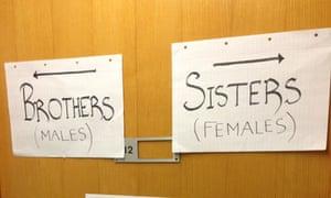 segregation signs on door