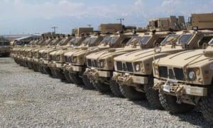 American MRAP vehicles in Afghanistan.