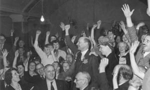 The Spirit of 45 film still: Clem Attlee cheered after winning election