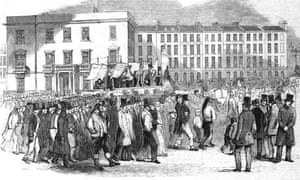 Illustration of Congregation Marching on London Street