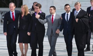 Attorney David Boies, plaintiffs Sandy Stier and her partner Kris Perry, plaintiffs Jeff Zarrillo and his partner Paul Katami, and attorney Ted Olson walk out of the US supreme court after arguing to overturn Proposition 8.