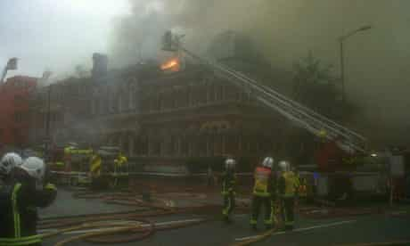 Firefighters at the scene of the fire that damaged the Cuming Museum