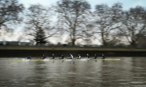On your marks...The Oxford crew is photographed practising starts during a training session on the River Thames in London. The 159th University Boat Race will take place this Sunday from Putney to Mortlake.