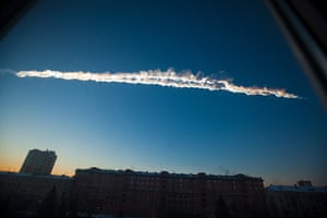 A month in Space: a meteorite contrail is seen over Chelyabinsk