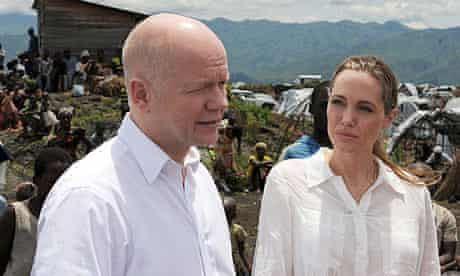 William Hague, the foreign secretary, with Angelina Jolie, actor and UNHCR special envoy, in DRC