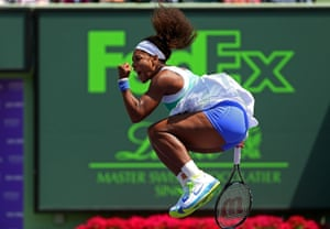 Serena Williams reacts after winning a match against Li Na of China during Day 9 of the Sony Open at Crandon Park Tennis Center in Key Biscayne, Florida.