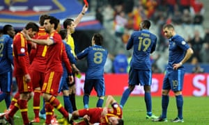 Paul Pogba of France gets a red card against Spain at Stade de France Stadium