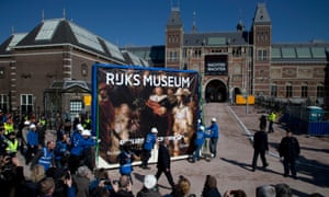 Phew! That's more like it. Workers push a crate containing Dutch master Rembrandt's famous Night Watch painting to its new location in the renovated Rijksmuseum, in Amsterdam, Netherlands.