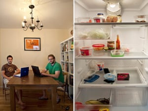 Big Picture - Fridges: two men around table with laptops with empty fridge picture next to them