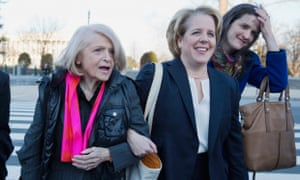 Edie Windsor, plaintiff in the hearing against the Defense of Marriage Act (Doma), with her attorney Roberta Kaplan at the supreme court.
