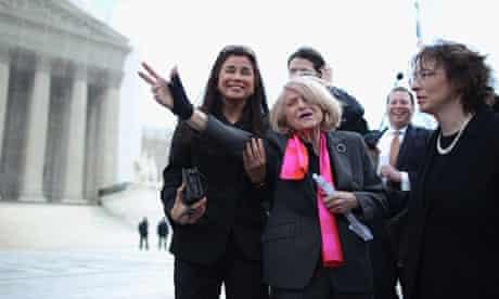 Edith Windsor outside supreme court