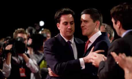 Ed Miliband hugs his brother David