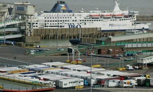 A ferry terminal at the sea port of Dover