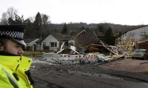 The scene following an explosion on Murdiston Avenue in Callander, near Stirling. Two pensioners have been taken to hospital following the blast  which totally demolished a house.