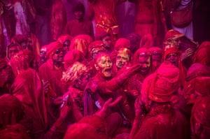 Holi festival: Hindu devotees in the village of Barsana, near Mathura