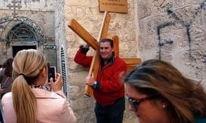 Spanish pilgrims on the Via Dolorosa in Jerusalem