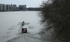 Wishing their sport was an indoor one? A cold grey day of training for the Cambridge boat race team as they row along the embankment at Hammersmith Bridge on The River Thames. The 159th University Boat Race will take place on Sunday from Putney to Mortlake.