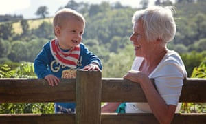 Elderly woman with toddler