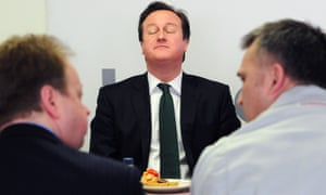 The Nissan canteen must be the place to lunch these days as David Cameron has an 'ah! Bisto' moment during a visit to the Nissan Plant in Sunderland.
