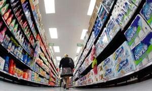 A Walmart shopper chooses items