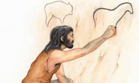 A Homo sapien drawing on a cave wall