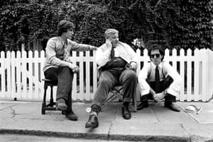 Richard Griffiths obit: 1986: Paul McGann, Richard Griffiths and Richard E. Grant on the set of Wit