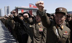 North Korean army officers during a rally in the main square in Pyongyang