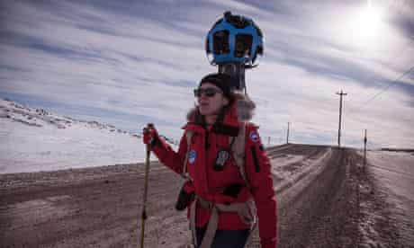 Google Street View's Karin Tuxen-Bettman crosses the Arctic tundra in Iqaluit