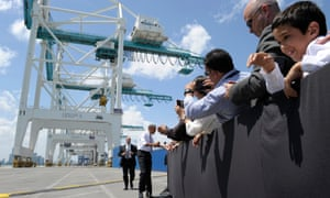 President Obama shakes hands following his brief infrastructure speech at PortMiami.