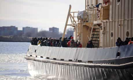 Latvia ice floes rescue