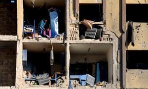 Damaged university building in Aleppo