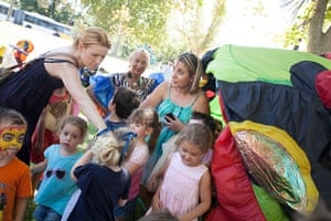 Adelaide Festival Day 3: The children leave the inflatable frog after a storytelling session