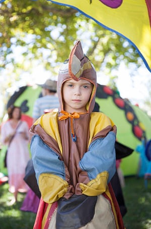 Adelaide Festival Day 3: Baylih, 6, from Adelaide wears an owl costume before the Nylon Zoo parade
