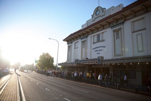 Adelaide Festival Day 3: People queue outside the Thebarton Theatre