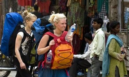 Female tourists in Delhi, India