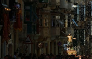 Easter Sunday: A statue in procession in Cospicua