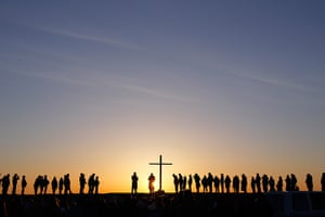 Easter Sunday: People at an Easter sunrise service in Massachusetts